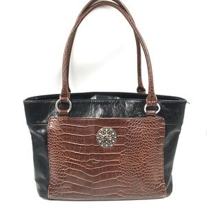 GIANI BERNINI Black & Brown Croc Embossed Purse